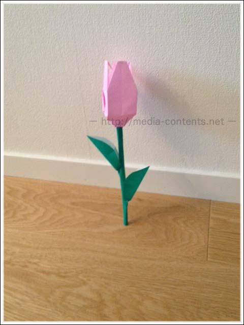 折り紙のチューリップの折り方!立体で簡単♪葉っぱ付きのおまけ